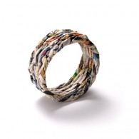 Bracelet made of recycled newspapers- size L - large width