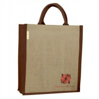 Jute bag bottle holder, Marron Rouge printed