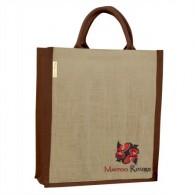 Jute bag bottle holder, Marron Rouge embroidered