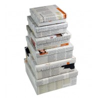 Set of 6 nesting boxes INKE Recycled newsprint and cardboard