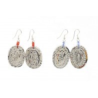 Earrings with an oval medallion in recycled newspaper