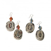 Recycled paper Earrings - Oval Medaillon witn one paper bead