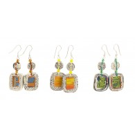 Earrings with a rectangular medallion in recycled newspaper and beads