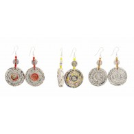 Earrings with a round medallion in recycled newspaper