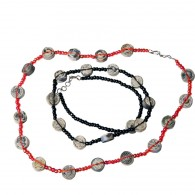 Recycled paper Necklace - 11 beads 48cm