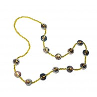Recycled paper Necklace - 14 strass beads 70cm