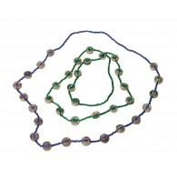 Recycled paper Necklace - 18 strass beads 90cm