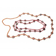 Recycled paper Necklace - 22 strass beads 100cm