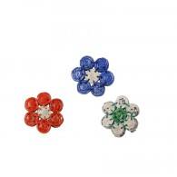 Recycled paper Flower Brooch - 7 beads of 1cm