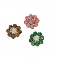 Broche Flower en papier journal recyclé - 8 perles de 1cm
