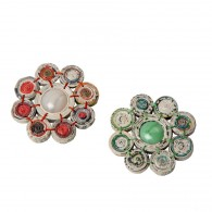Recycled paper Flower Brooch - 8 beads of 1.7cm