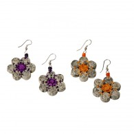 Recycled paper Flower Earrings - 7 beads 1cm