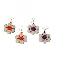 Recycled paper Flower Earrings - 7 beads 1.3cm