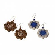 Recycled paper Flower Earrings - 8 beads 1cm