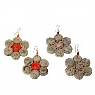Recycled paper Flower Earrings - 7 beads 1.7cm