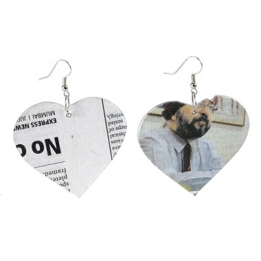 All about Love...Boucles d'oreilles Universal Love  en papier journal recyclé