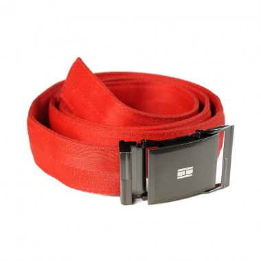 Red belt in recycled seatbelt