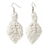 Leaf earrings - White