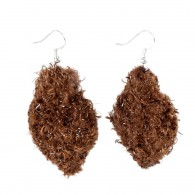 Leaf earrings R (Recycled) - Brown