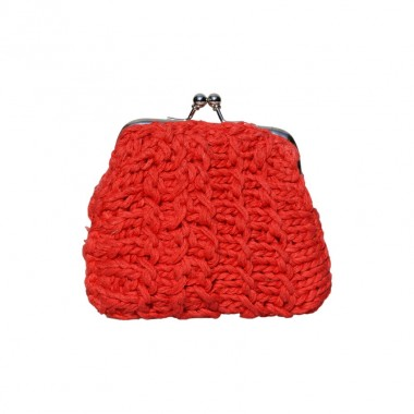 Porte-monnaie Shanti tricot&eacute; en fil de coton rouge