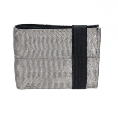 Aamir light grey wallet card-holder in recycled inner tube and seatbelt