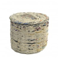 Round Storage Basket made of recycled newspapers