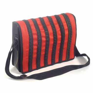 William messenger bag in recycled seatbelt, bicycle tire and inner tube