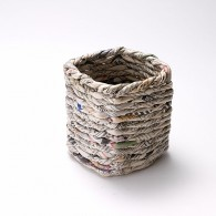 Square pencil pot in recycled newspaper