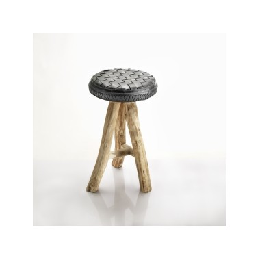 Brandon stool in recycled inner tube, tire and eucalyptus wood