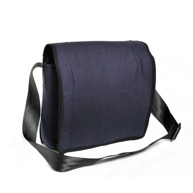 Messenger bag in recycled canvas of parachute bag navy blue