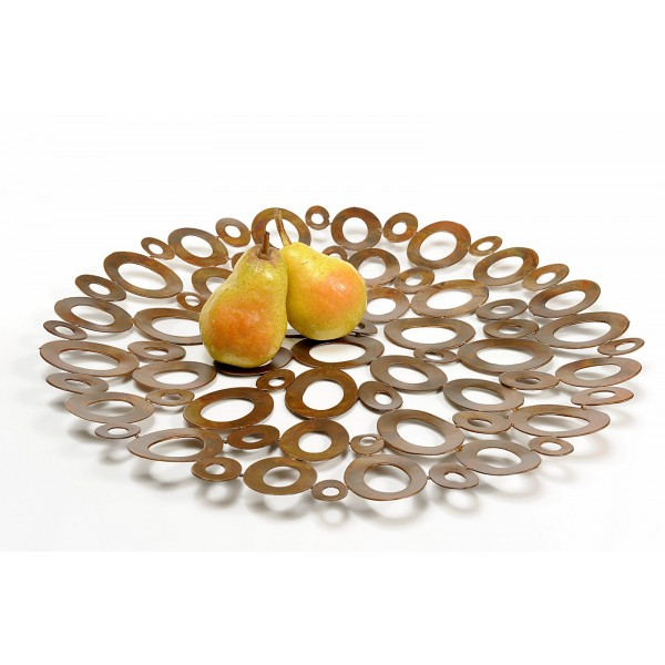 Ellipse Metal Wall Ornament Tray Marron Rouge