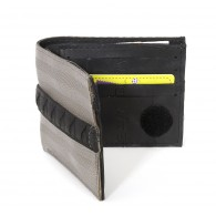 Jim wallet card holder in recycled seatbelt, inner tube and bicycle tire