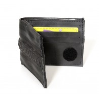 Jamie wallet card holder in recycled seatbelt, inner tube and bicycle tire