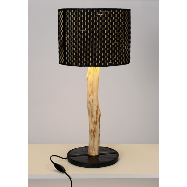 lampe stick en bois d 39 eucalyptus chambre air recycl e et bambou. Black Bedroom Furniture Sets. Home Design Ideas