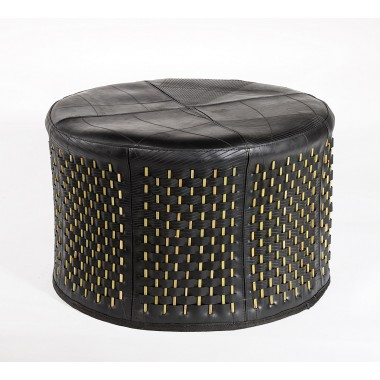 Stick ottoman in inner tube and bamboo (circle-shaped)