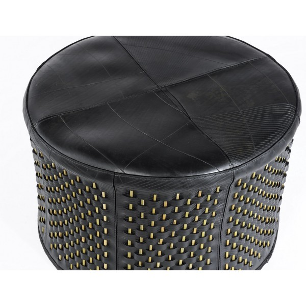 Stick ottoman in inner tube and bamboo (circle-shaped) - Marron Rouge