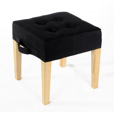 Paraseat Stool in recycled parachute bag canvas - black