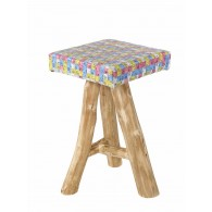 Coco Stool in wood and measurig tapes diverted