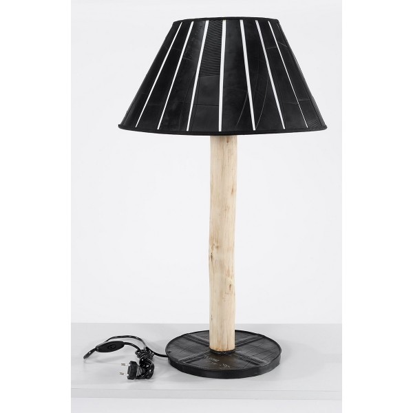 haro pedestal table lamp in eucalyptus wood and inner tube marron rouge. Black Bedroom Furniture Sets. Home Design Ideas