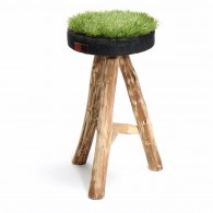 Green Grass stool in eucalytus wood and recycled synthetic grass - Size XL