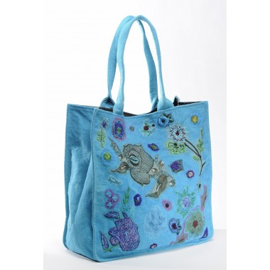 Large bag Sophie in recycled cotton Turquoise