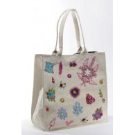 Sophie large bag in recycled cotton , cream color